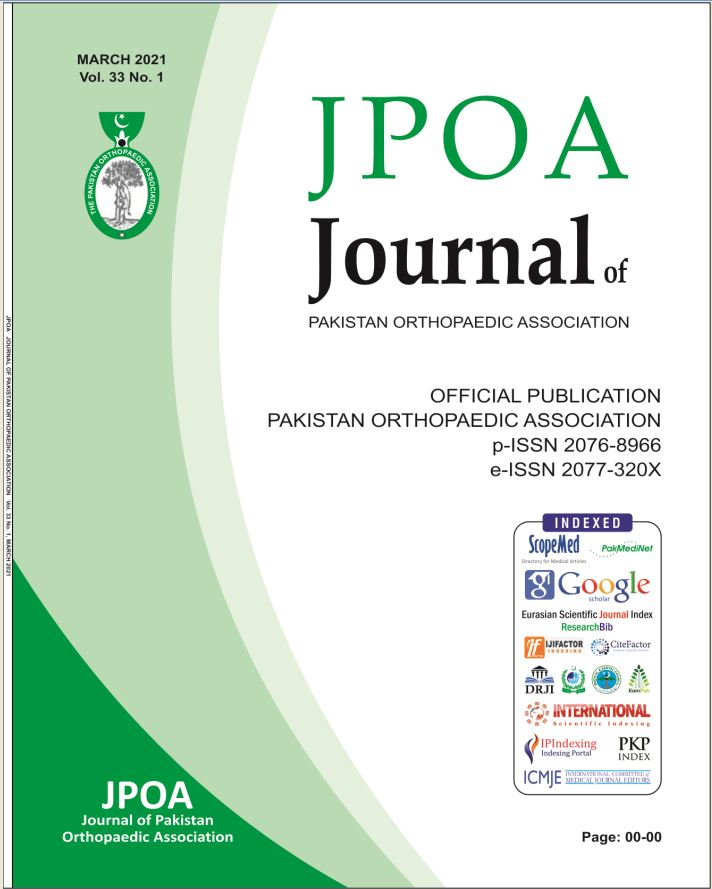 View Vol. 33 No. 01 (2021): Journal of Pakistan Orthopaedic Association (JPOA)